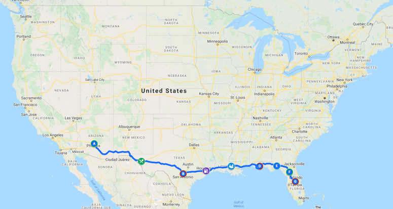 Wandering-from-Arizona-to-Florida-Google-My-Maps