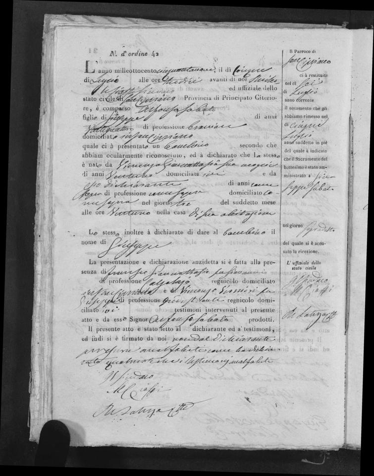 Giuseppe Sabato Birth record