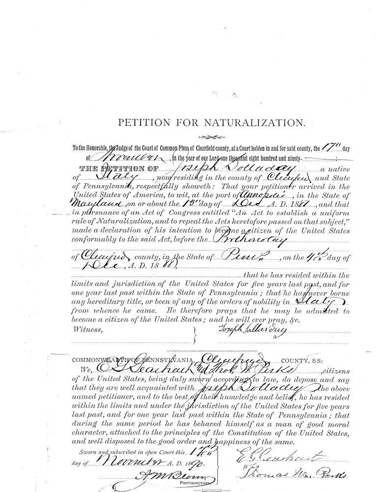 Jos Sallurday Petition for Naturalization